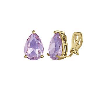 永遠のコレクション誘惑涙紫バイオレット クリスタル ゴールド トーン スタッド イヤリングのクリップ