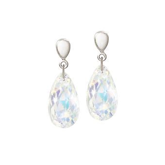 Eternal Collection Brilliance Aurora Borealis Peardrop Crystal Silver Tone Drop Clip On Earrings