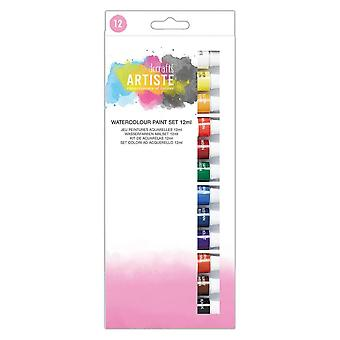 DoCrafts Artiste Watercolour Paint Set 12ml12 Tubes