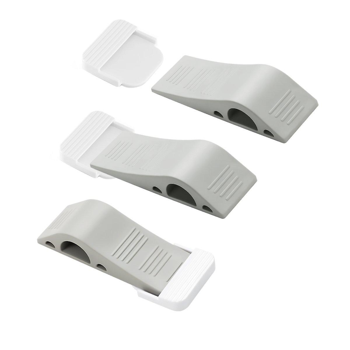 3x Door Stop Wedges Rubber Door Stoppers with Holders Stackable and Slip-Resistant for Tiles Carpet Wood Laminate Floors
