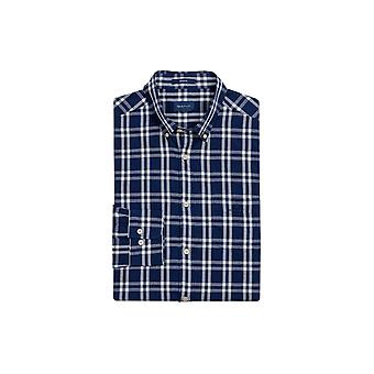 Gant 01. windgeblazen Oxford Plaid regular fit knop Perzisch blauw