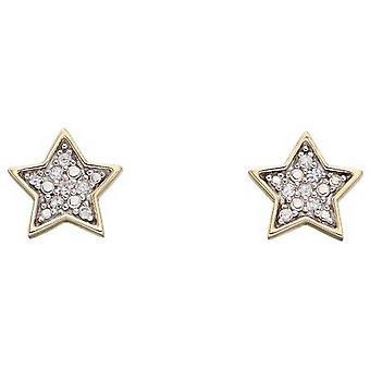 Elementos Gold Star Diamond Stud Pendientes - Oro / Plata