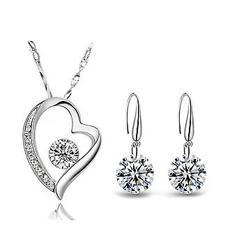 925 Sterling Silver Dazzling Duo Heart Studs Jewellery Set