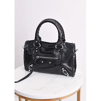 Faux Leather studded detalhe Tote Bag preto