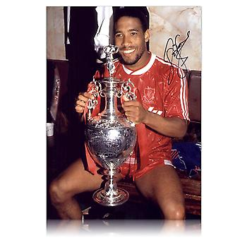 John Barnes Signed Liverpool Football Photo: Holding The League Championship