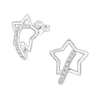 Star - 925 sterlinghopea kuutio zirkonia korva nastat - W36777x