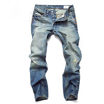 Allthemen Men's Jeans Slim Fit Multi-Button Gradient Color Denim Pants