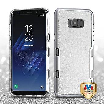 MYBAT Metallic Silber/Transparent klar Silber voller Glitter TUFF Panoview Hybrid Fall für Galaxy S8 Plus
