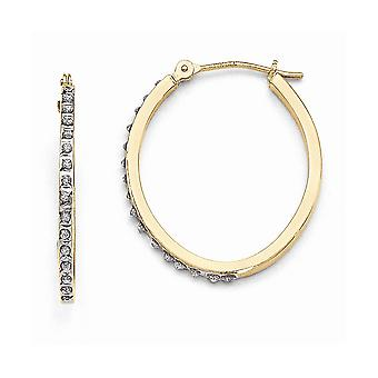 14k Yellow Gold Polished Diamond Fascination Oval Hinged Hoop Earrings Jewelry Gifts for Women