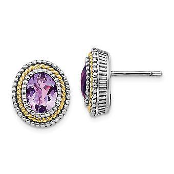 925 Sterling Silver Bezel Polished Post Earrings finish With 14k Amethyst Earrings Jewelry Gifts for Women