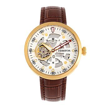 Heritor Automatic Jasper Skeleton Leather-Band Watch - Gold/White