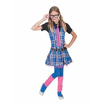 College Girl Kleid Kinderkostüm Karneval Nerd Kinder Fasching Streberin Kostüm