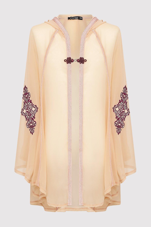 Razal hooded girl's embroidered lightweight hooded single fasten cape in salmon (2-12yrs)