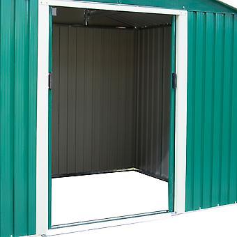 Charles Bentley 8Ft X 6Ft mørkegrøn metal have opbevarings skur zink gulv ramme