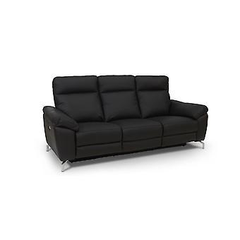 Furnhouse Black Leather Electric Sofa Selesta, 2 Seater, 162x96x101 cm