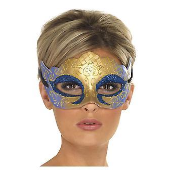 Womens Veneziana Colombina Farfalla Glitter maschera, oro costume accessorio