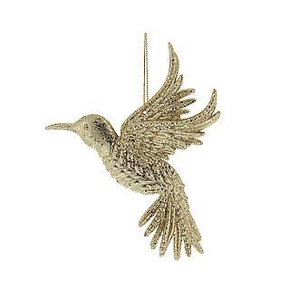 Gold Glitter Kolibri Kunststoff Weihnachten Bauble Ornament - 14,5 cm