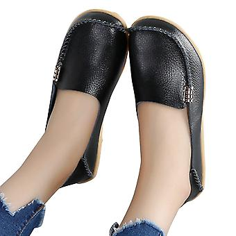 Fashion Brand Best Show Women's Leather Comfortable Loafers Casual Round Toe ...