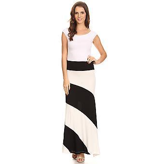 Women's Striped Maxi Skirt with Waist Band