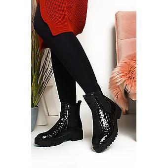 IKRUSH Womens Iggy Croc Print Patent Ankle Boots