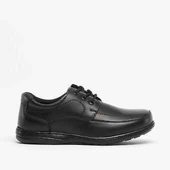 Mirak Adam Boys Leather School Shoes Black