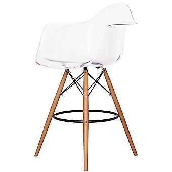 Charles Eames stijl doorzichtige kunststof barkruk met armen