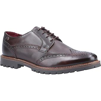 Base de Londres Mens Grundy lavado lace up sapatos de couro Oxford