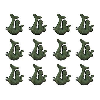 Green Verdigris Cast Iron Coastal Mermaid Drawer Pull or Cabinet Knobs Set of 12