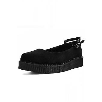 TUK Shoes Black Pointed Ballet Ankle Strap Creeper