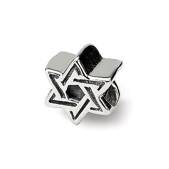 925 Sterling Silver Polerad finish Reflektioner Kids religiösa Judaica Star of David Bead Charm Hängande Halsband Smycken