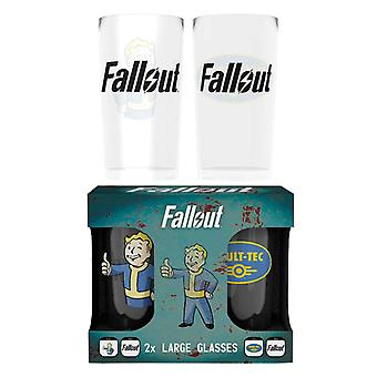 Fallout Glass Vault Tec logo nieuwe officiële gamer boxed Twin Pack