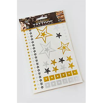 Metallic Star temporäre Tattoo Pack