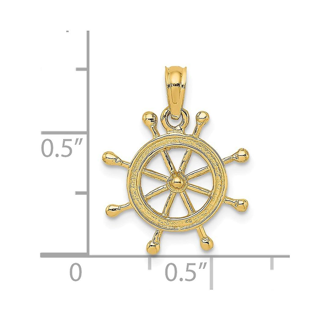 14k Gold Ship Wheel 2 d Charm Pendant Necklace Jewelry Gifts for Women - 1.0 Grams