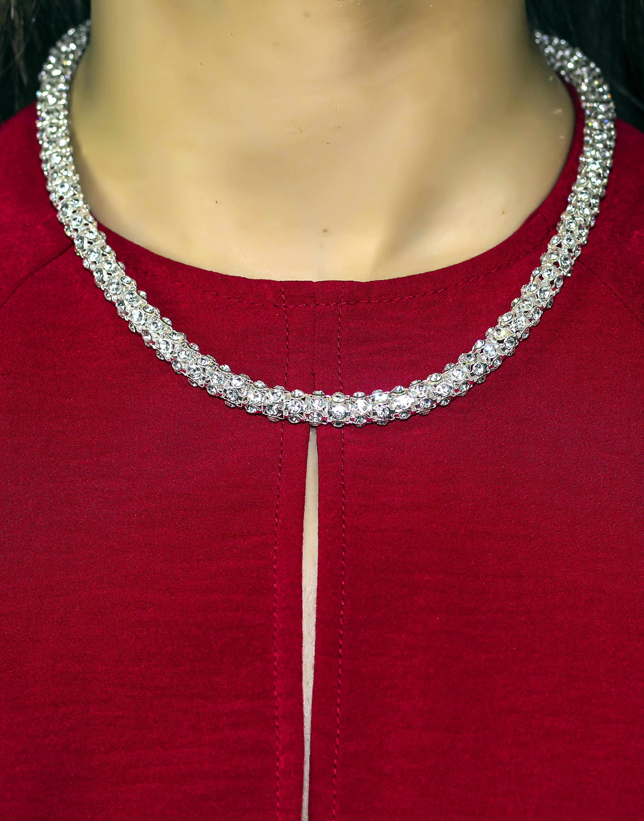 Silver Chain Necklace with Embedded Crystals