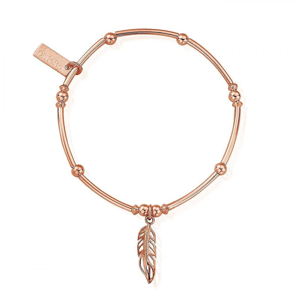 ChloBo Rose Gold Mini Noodle Ball Feather Bracelet