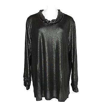 Susan Graver Women's Plus Top Metallic Knit Cowl-Neck Tunic Silver A345898