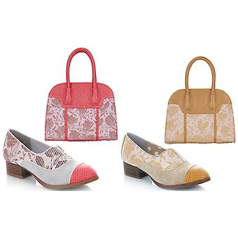 Ruby Shoo Brooke Coral Low Heel Loafers & Matching Cancun Bag