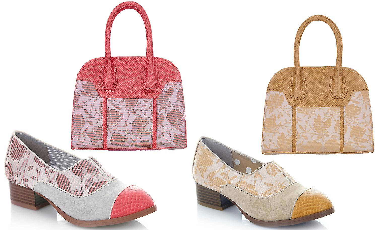 Ruby Shoo Brooke Coral Low Heel Loafers & Matching Cancun Bag EQtoK