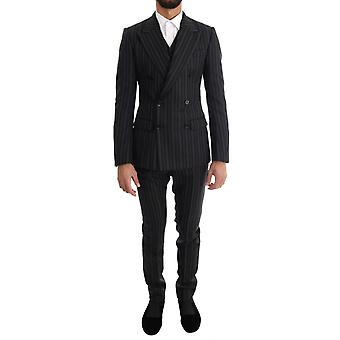 Dolce & Gabbana Black Red White Striped Double Breasted 3 Piece Suit