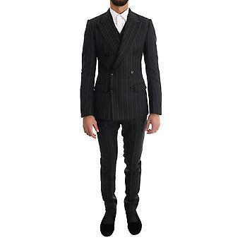 Dolce & Gabbana musta punainen valkoinen raidallinen kaksinkertainen rinnakkaisryhmitelty 3 kpl puku