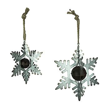 Rustic Metal 3D Hanging Snowflake and Bell Ornament Decoration - Set of 2