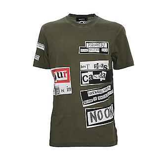 Dsquared2 S74gd0510s21600703 Men's Green Cotton T-shirt