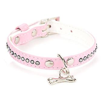 Freedog Bright pink leatherette necklace 1,3x25cm