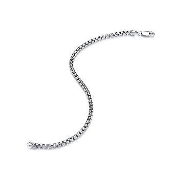 David Deyong Sterling Silver Rhodium Plated 3mm Round Box Chain Bracelet