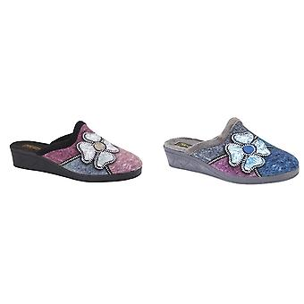 Sleepers Womens/Ladies Kimberly Flower Trim Mule Slippers