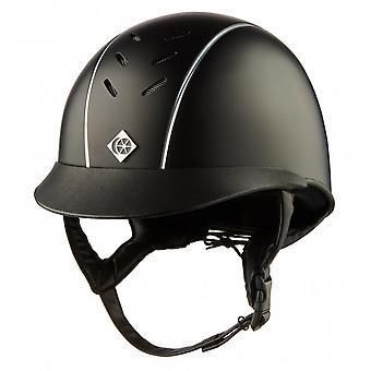 Charles Owen Ayrbrush Riding Helmet - Black/silver Pinstripe