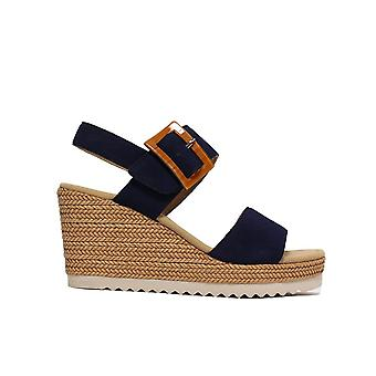Gabor Wild 795-16 Blue Suede Leather Womens Wedge Sandales