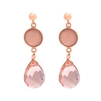 Gemshine örhängen chalcedony och rosenkvarts droppe 925 silver, guldpläterad, ros