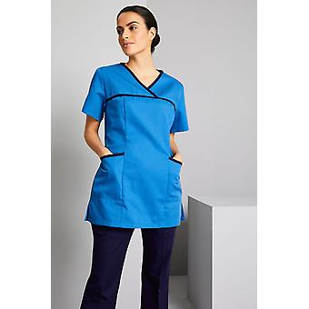 SIMON JERSEY Women's Pull On Scrub Top With Coloured Trim, Teal