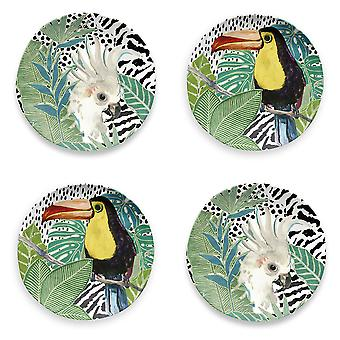 Epicurean Cockatoo and Toucan Side Plate Set of 4